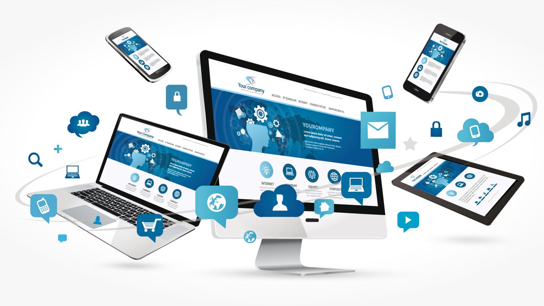 Webentwicklung - Webseite im Zentrum